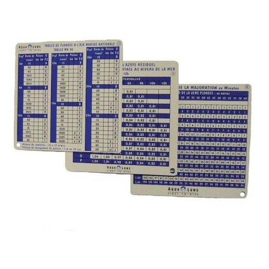 ACCESSOIRES PLONGEE - AQUALUNG - TABLES MN90 AQUALUNG - Accastillage • Accessoires de plongée - Plongée sous-marine - Atlantys